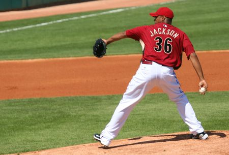 Edwin Jackson pitches in an Arizona Diamondbacks game against the Los Angeles Angels on March 11, 2010, at Tucson Electric Park in Tucson, Arizona, during spring training.