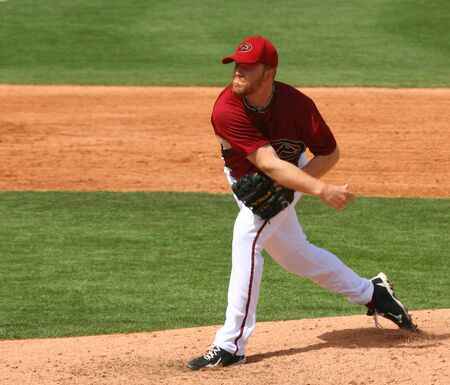 Pitcher Blaine Boyer in an Arizona Diamondbacks game against the Cincinnati Reds on March 16, 2010, at Tucson Electric Park in Tucson, Arizona, during spring training.