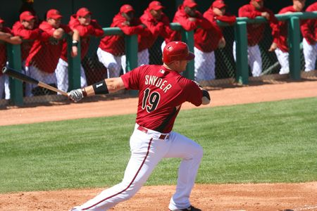 Chris Snyder bats in an Arizona Diamondbacks game against the Los Angeles Angels on March 11, 2010, at Tucson Electric Park in Tucson, Arizona, during spring training.