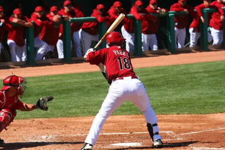 Arizona batter, Gerardo Parra, in a Diamondbacks game against the Los Angeles Angels on March 11, 2010, at Tucson Electric Park in Tucson, Arizona, during spring training.