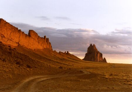 A Road Along a Volcanic Dike to Shiprock, New Mexico, on the Navajo Reservation