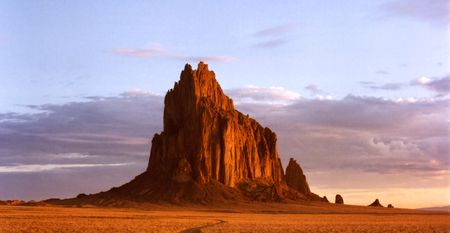 Shiprock, New Mexico, on the Navajo Reservation, west of the town of Shiprock. Stock Photo