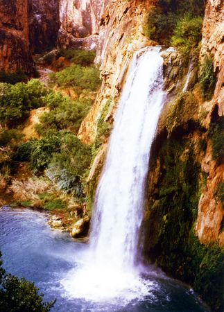 indian creek: A view of spectacular Havasu Falls in Havasu Canyon, Arizona Stock Photo