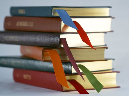 lavendar: A Set of Six Stacked Leather Bound Books with Bookmarks Stock Photo