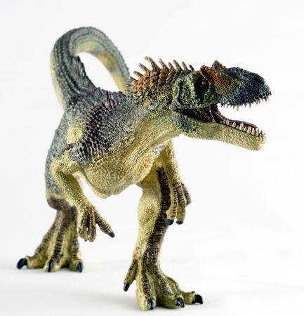 A Huge Allosaurus Dinosaur Stands Against a White Background