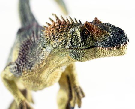 beenderige: Een enorme Allosaurus Dinosaur opstanden tegen een witte achtergrond
