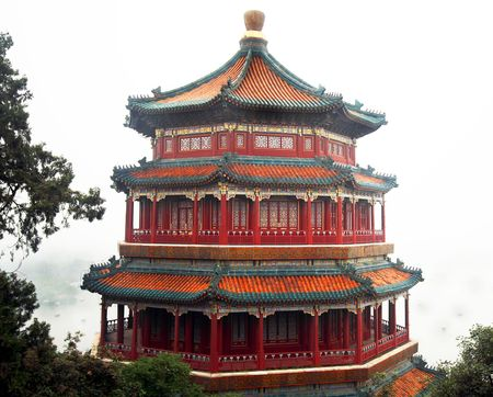 beijing: The Tower of the Fragrance of the Buddha, Longevity Hill, Summer Palace, Beijing, Peoples Republic of China Stock Photo