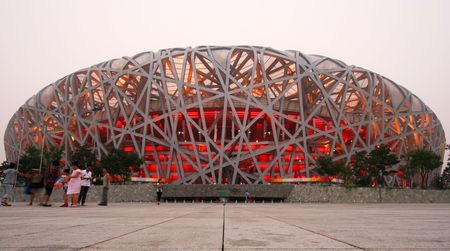 olympic ring: The Olympic National Stadium, Beijing, China. Photo taken July 20, 2010.