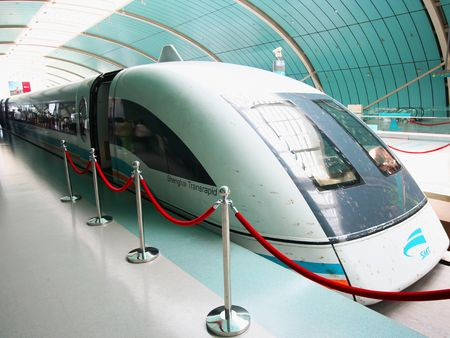 trains: A Shanghai Transrapid Maglev, or Bullet, Train Capable of Speeds Over 300 mph. Taken July 18, 2010. Editorial