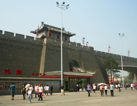 A View of the Xi'an City Walls North Gate, Shaanxi, China taken July 25, 2010 Stock Photo - 7665886