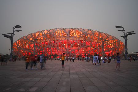 A View of the Olympic National Stadium, Beijing, China. Also called the Birds Nest.