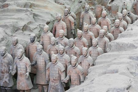 qin: A Column of Terracotta Army Soldiers in Pit 1, Xian, China