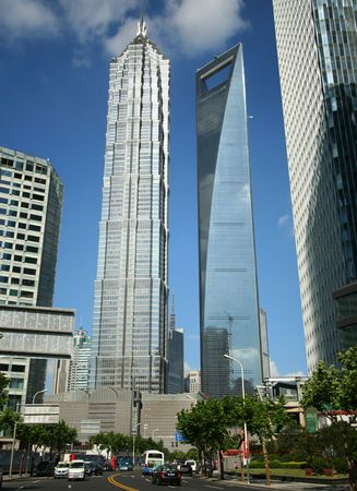 A Look at the Jin Mao and SWFC Buildings, Pudong, Shanghai, China taken July 19, 2010 Stock Photo - 7840019