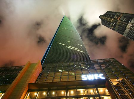 A Night Scene of the SWFC Building, Shanghai, China, taken July 19, 2010 Stock Photo - 7840312