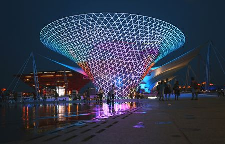 A Night View of the World Expo 2010 Shanghai Axis and Chinese Pavilion from Celebration Square. Taken July 20, 2010.