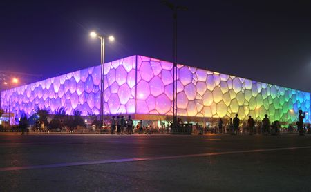 beijing: A View of the Cube, Olympic National Park, Beijing, China. Housed all the water sports events. Photo taken July 28, 2010.