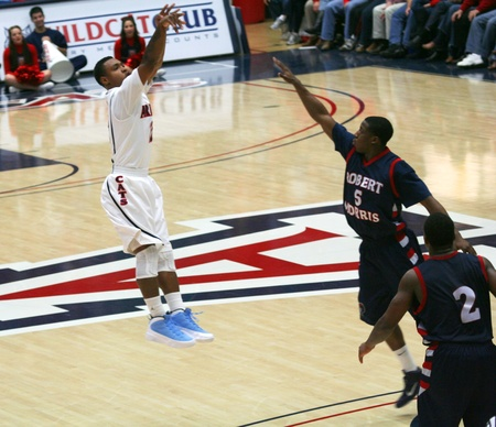 jones: Lamont Jones Shoots in a University of Arizona Wildcats Mens Basketball Game Against the Robert Morris Colonials at McKale Center, Tucson, on December 22, 2010. Also Velton Jones and Anthony Myers.