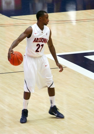 kyle: A Shot of Kyle Fogg in a University of Arizona Wildcats Mens Basketball Game Against the Robert Morris Colonials at McKale Center, Tucson, on December 22, 2010. Editorial