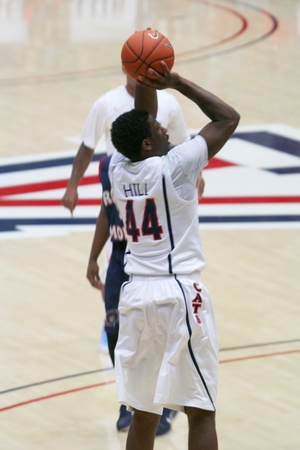 morris: A Jump Shot by Solomon Hill in a University of Arizona Wildcats Mens Basketball Game Against the Robert Morris Colonials at McKale Center, Tucson, on December 22, 2010.
