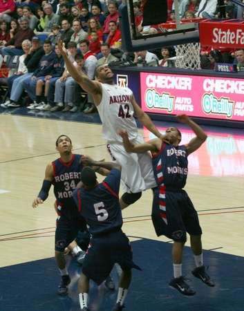 An Air Shot of Jamelle Horne in a University of Arizona Wildcats Mens Basketball Game Against the Robert Morris Colonials at McKale Center, Tucson, on December 22, 2010. Anthony Myers, Russell Johnson.