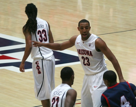 morris: A Direction from Derrick Williams in a University of Arizona Wildcats Mens Basketball Game Against the Robert Morris Colonials at McKale Center, Tucson, on December 22, 2010. Kyle Fogg, Jesse Perry, Karon Abraham.