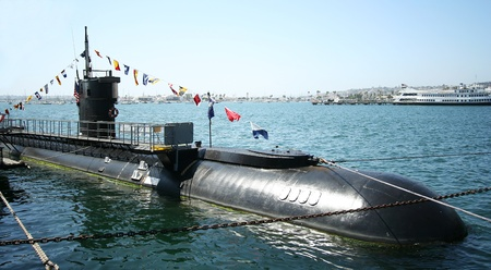A Diesel-electric Submarine, the USS Dolphin, at the Maritime Museum of San Diego, California, taken July 15, 2009.