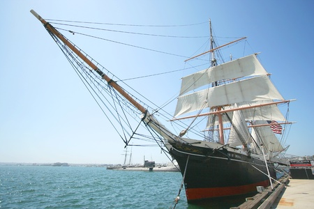 A View of the Star of India Merchant Sailing Ship at the Maritime Museum of San Diego taken July 15, 2009 Stock Photo - 8807769