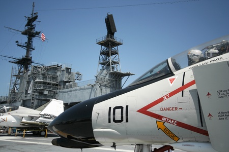 superstructure: An F-4 Phantom and the USS Midway Island Superstructure, San Diego, California, taken July 15, 2009