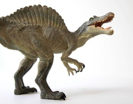A Spinosaurus Dinosaur with Gaping Jaws Full of Sharp Teeth photo
