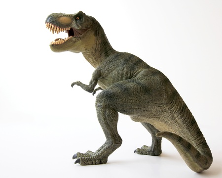 Een Dinosaurus Tyrannosaurus Rex met gapend kaken volledige van scherpe tanden