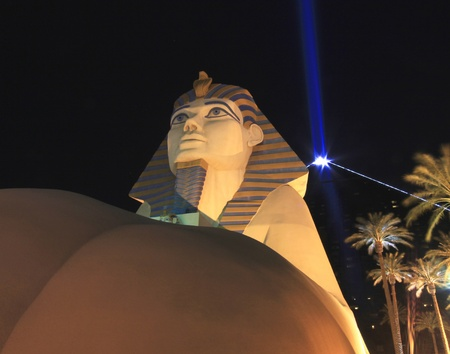 A view of the Luxor Hotel and Casino Sphinx and Pyramid at night taken in Las Vegas, Nevada, on March 16, 2011. Editorial