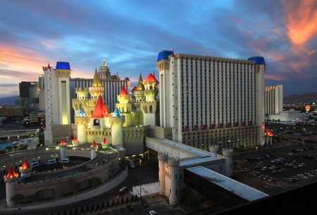 A twilight view of the Excalibur Hotel and Casino taken in Las Vegas, Nevada, on March 16, 2011.