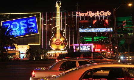 A night shot of the Hard Rock Cafe taken on the Las Vegas Strip, Nevada, on March 16, 2011.