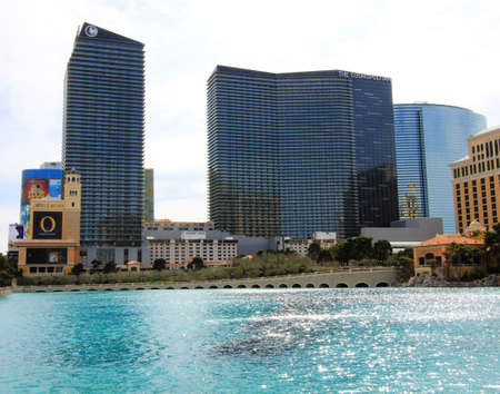 A sunny view of the Bellagio and Cosmopolitan Hotels taken in Las Vegas, Nevada, on March 16, 2011.
