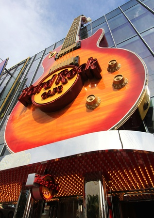 A view of a Hard Rock Cafe guitar from below taken in Las Vegas, Nevada, on March 16, 2011. Stock Photo - 9218251