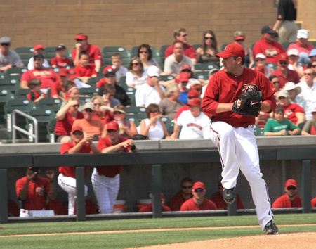 Arizona Diamondbacks Left Handed Pitcher Joe Saunders in a 2011 Spring Training game against the Cincinnati Reds at Salt River Fields at Talking Stick, Scottsdale, on March 19 Stock Photo - 9286904