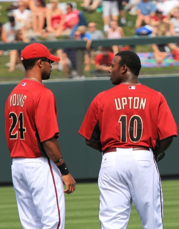 Arizona Diamondbacks Outfielders Chris Young and Juston Upton in a 2011 Spring Training game against the Cincinnati Reds at Salt River Fields at Talking Stick, Scottsdale, on March 19