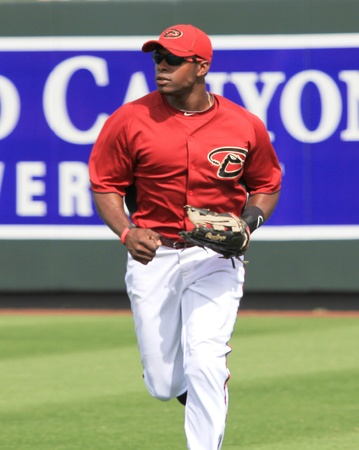 outfielders: Arizona Diamondbacks Right Fielder Juston Upton Running in a 2011 Spring Training game against the Cincinnati Reds at Salt River Fields at Talking Stick, Scottsdale, on March 19, 2011 Editorial