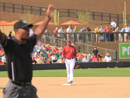 shortstop: Arizona Diamondbacks Shortstop Ed Rogers Covers Second in a 2011 Spring Training game against the Cincinnati Reds at Salt River Fields at Talking Stick, Scottsdale, on March 19, 2011 Editorial