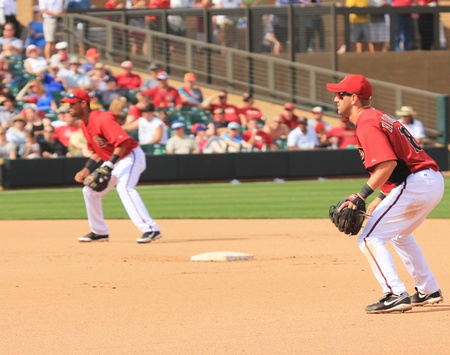 Arizona Diamondbacks Willie Bloomquist at Second and Ed Rogers at Short Stop in a 2011 Spring Training game against the Cincinnati Reds at Salt River Fields at Talking Stick, Scottsdale, on March 19, 2011 Stock Photo - 9350588