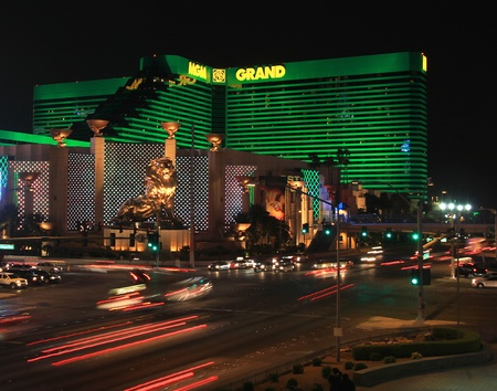 A night shot of the MGM Hotel and Casino taken in Las Vegas, Nevada, on March 16, 2011.
