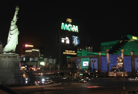 tropicana: A night shot of Las Vegas Boulevard and Tropicana taken in Las Vegas, Nevada, on March 16, 2011.