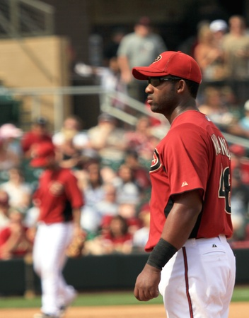 Arizona Diamondbacks First Baseman Juan Miranda in a 2011 Spring Training game against the Cincinnati Reds at Salt River Fields at Talking Stick, Scottsdale, on March 19, 2011 Stock Photo - 9433638