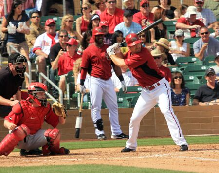 Arizona Diamondbacks Right Handed Batter Xavier Nady in a 2011 Spring Training game against the Cincinnati Reds at Salt River Fields at Talking Stick, Scottsdale, on March 19, 2011 Stock Photo - 9433687