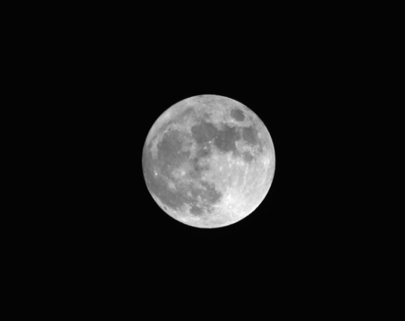 A Shot of Earths Full Moon Against a Black Night Sky Stock Photo