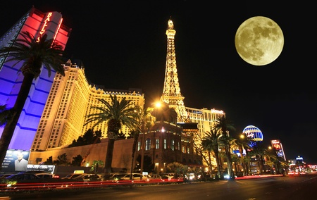 A full moon over Paris on the Strip taken in Las Vegas, Nevada, on March 16, 2011. Composite.