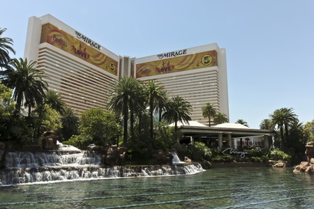 cirque du soleil: A View of the Mirage Hotel and Casino, Las Vegas, Nevada, Taken June 9, 2011. Celebrating the 5th Anniversary of The Beatles Love by Cirque Du Soleil. Editorial
