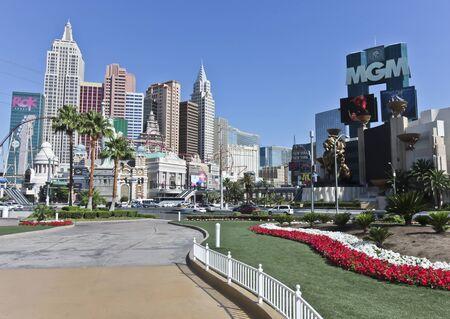 tropicana: Las Vegas, Nevada - June 9: The intersection of Las Vegas Blvd and Tropicana Ave on June 9, 2011, in Las Vegas, Nevada. The New York- New York and MGM Grand casinos on the famous Las Vegas Strip.