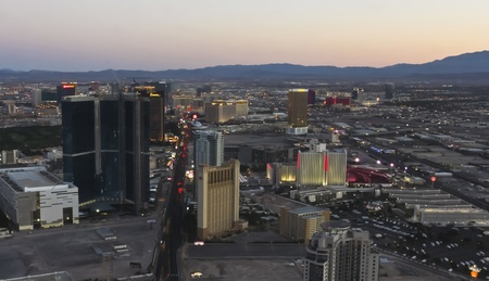 Las Vegas, Nevada - June 9: Aerial cityscape at twilight on June 9, 2011, in Las Vegas, Nevada. The famous Las Vegas Strip as seen from the landmark Stratosphere Tower.