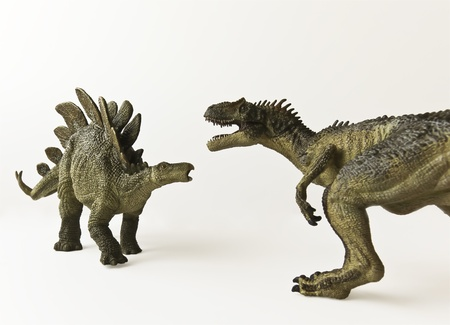 stegosaurus: Una batalla Stegosaurus y Allosaurus contra un fondo blanco